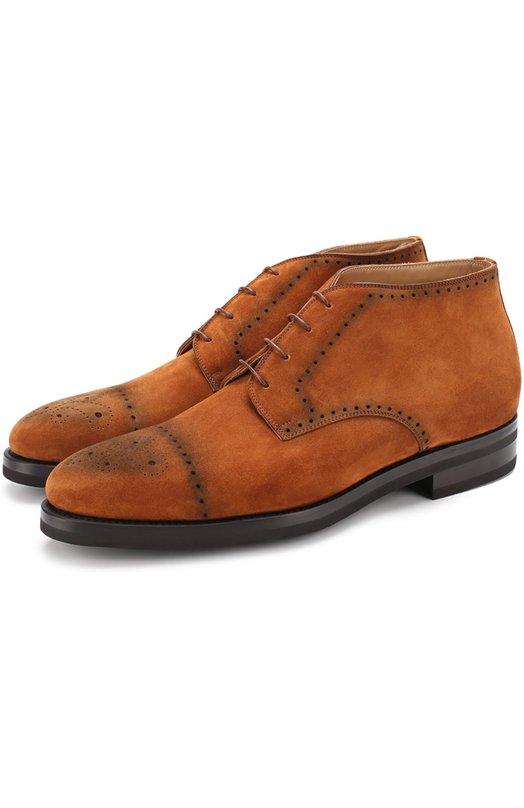 Купить Замшевые ботинки с брогированием Kiton, USSRAFFN00360, Италия, Коричневый, Стелька-кожа: 100%; Подошва-резина: 100%; Замша натуральная: 100%;