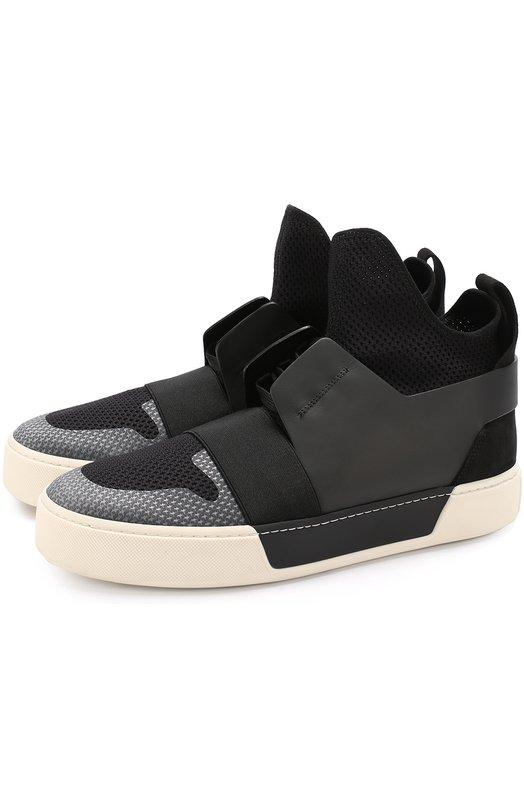 Купить Высокие комбинированные кеды на шнуровке Balenciaga, 483501/W04Q1, Италия, Черный, Кожа натуральная: 100%; Стелька-кожа: 100%; Подошва-резина: 100%; Текстиль: 100%;