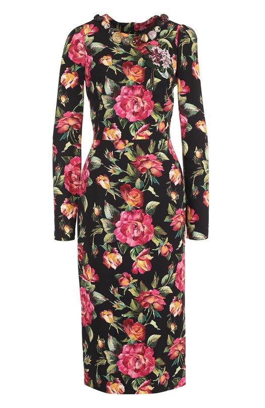 Купить Приталенное платье-миди с длинным рукавом и принтом Dolce & Gabbana, 0102/F6507Z/FSRIF, Италия, Разноцветный, Подкладка-шелк: 94%; Подкладка-эластан: 6%; Вискоза: 100%;