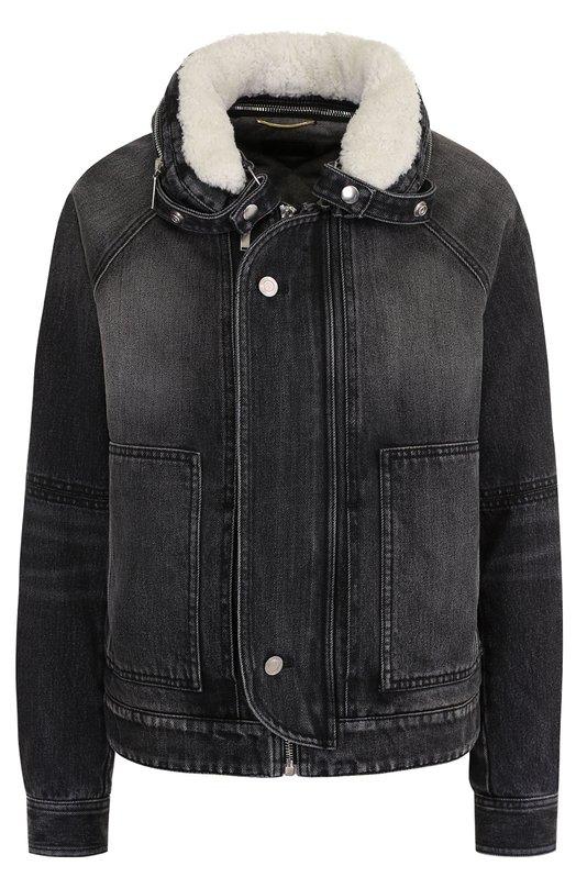Джинсовая куртка с потертостями и меховой отделкой Saint Laurent