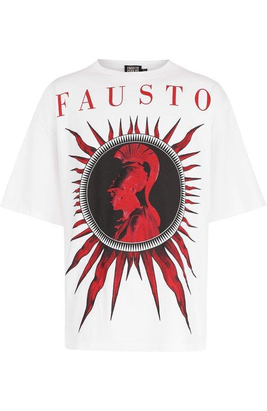 Купить Хлопковая футболка с принтом Fausto Puglisi, FPU7054/PF0085, Италия, Белый, Хлопок: 100%;