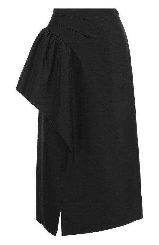 Шерстяная юбка-миди с оборкой Maison Margiela