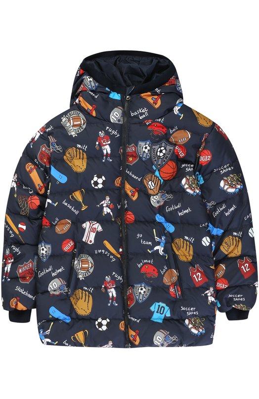 Купить 0131/L4JBP8/G7KUT/8-12, Стеганый пуховик на молнии с принтом Dolce & Gabbana, Италия, Синий, Пух гусиный: 70%; Перо утиное: 30%; Полиэстер: 100%; Подкладка-полиэстер: 100%;, Мужской, Верхняя одежда