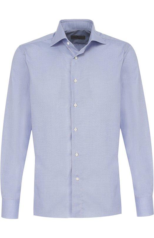 Купить Хлопковая сорочка с воротником акула Canali, 742/GA00327/CS, Италия, Голубой, Хлопок: 100%;