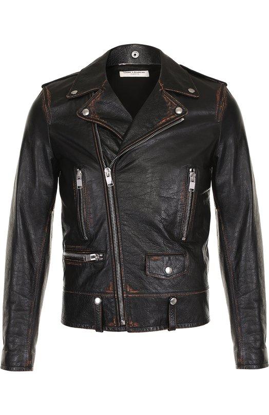 Кожаная куртка с косой молнией и принтом Saint Laurent