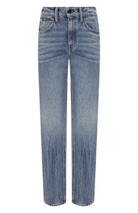 Джинсы прямого кроя с потертостями Denim X Alexander Wang голубые | Фото №1
