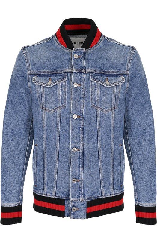 Купить Джинсовая куртка с контрастной отделкой MSGM, 2340MH42L 174774, Италия, Синий, Хлопок: 100%;