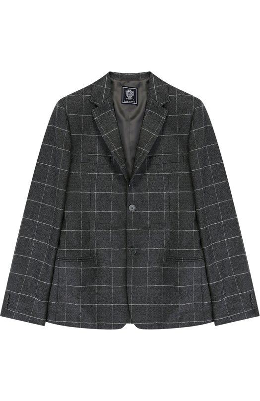 Однобортный пиджак из шерсти в клетку Dal Lago