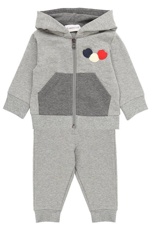Купить Спортивный костюм из хлопка с аппликациями Moncler Enfant, C2-951-88084-05-80996, Турция, Серый, Хлопок: 95%; Эластан: 5%;