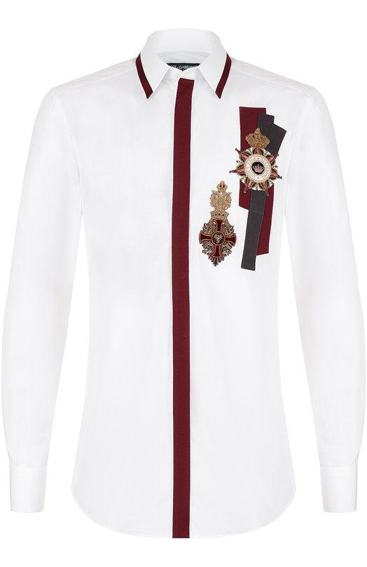 Хлопковая рубашка с аппликациями Dolce & Gabbana