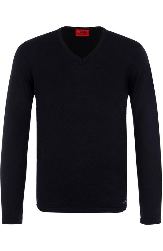 Шерстяной однотонный пуловер HUGO, 50375122, Тунис, Темно-синий, Шерсть: 100%;  - купить