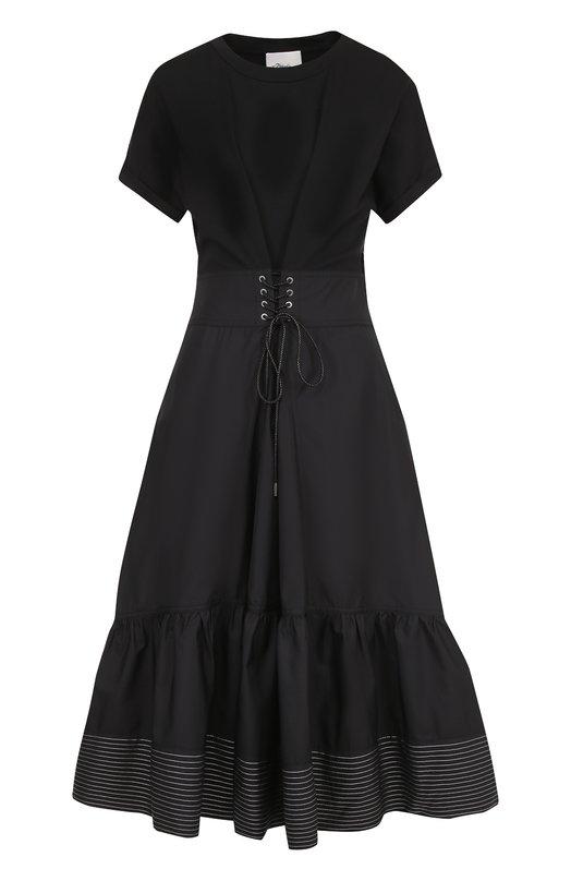 Купить Хлопковое приталенное платье-миди 3.1 Phillip Lim, P171-9718HCJ, Китай, Черный, Хлопок: 100%;