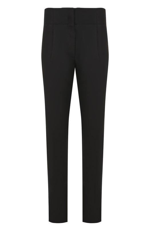 Купить Шерстяные брюки прямого кроя с завышенной талией Saint Laurent, 483018/Y045R, Италия, Черный, Шерсть: 100%; Подкладка-вискоза: 100%;