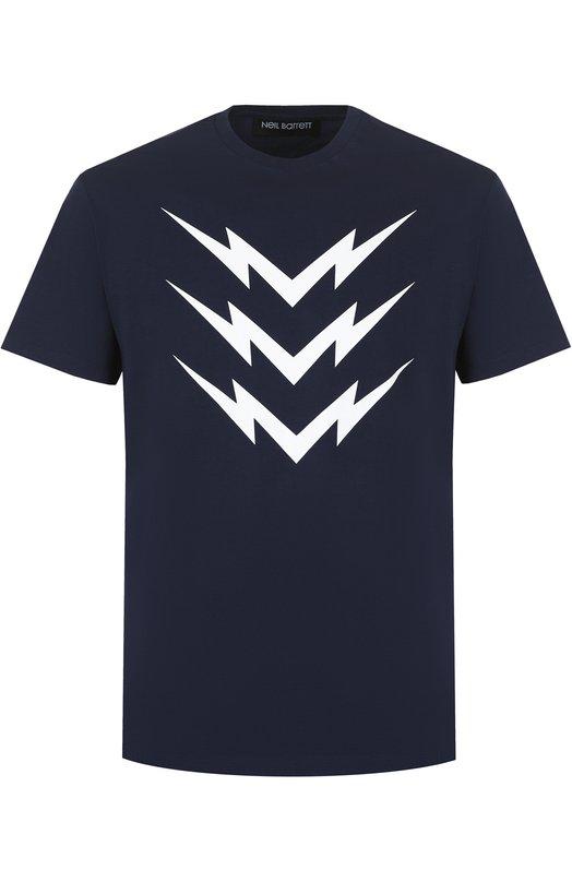 Купить Хлопковая футболка с принтом Neil Barrett Португалия 5190233 PBJT267F/F506S