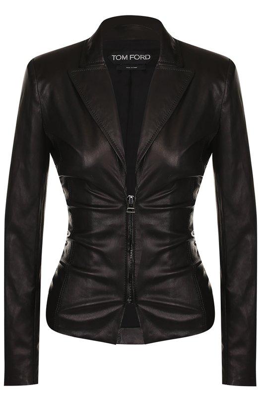 Купить Приталенная кожаная куртка с V-образным вырезом Tom Ford, GIL354-LEX162, Италия, Черный, Подкладка-шелк: 94%; Подкладка-эластан: 6%; Кожа натуральная: 100%;