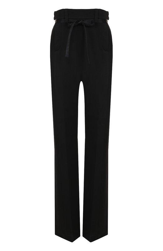 Купить Шерстяные брюки прямого кроя с завышенной талией и поясом Ann Demeulemeester, 1702-1430-P-175-099, Польша, Черный, Шерсть: 57%; Ацетат: 43%;