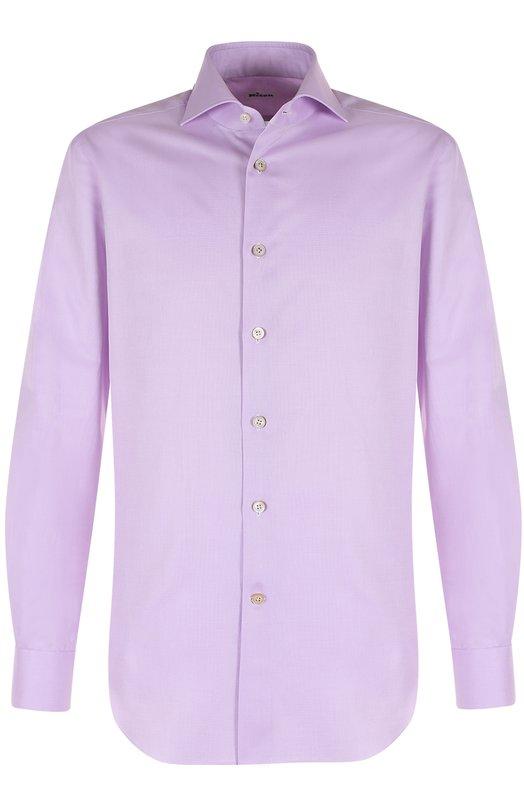 Купить Хлопковая сорочка с воротником акула Kiton, UCIH0003805002, Италия, Сиреневый, Хлопок: 100%;
