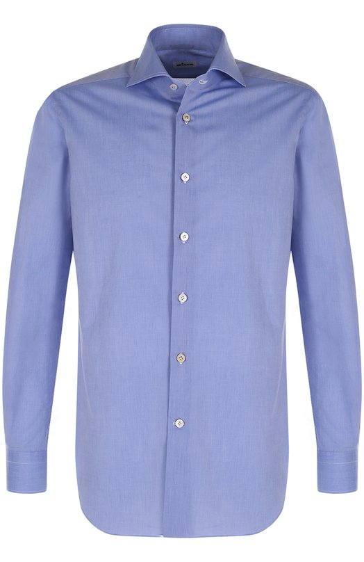 Купить Хлопковая сорочка с воротником акула Kiton, UCIH000310300L, Италия, Синий, Хлопок: 100%;