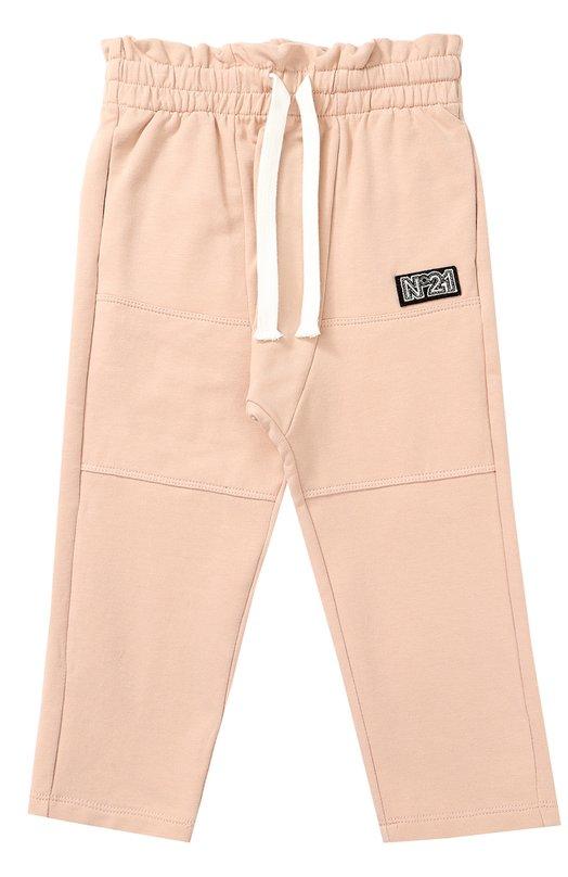 Купить Спортивные брюки из хлопка с прострочкой и оборкой на поясе No. 21, 27 X/K101/3639/26-30, Италия, Светло-розовый, Хлопок: 95%; Эластан: 5%;