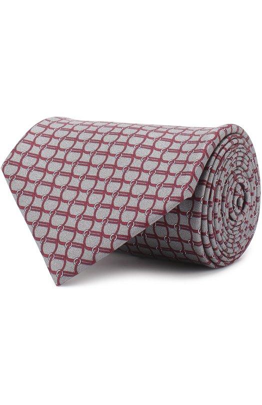 Купить Шелковый галстук с принтом Brioni, 062I/0641T, Италия, Бордовый, Шелк: 100%;