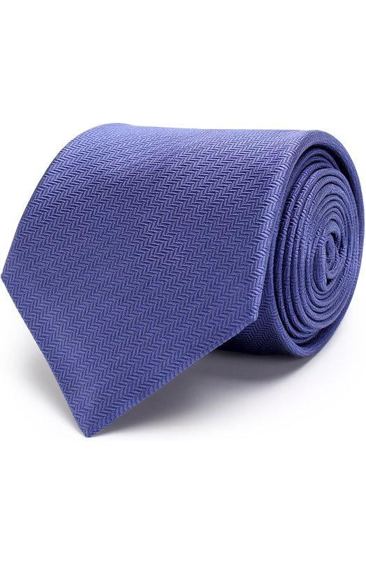 Купить Шелковый галстук с узором Brioni, 062I/0640S, Италия, Синий, Шелк: 100%;