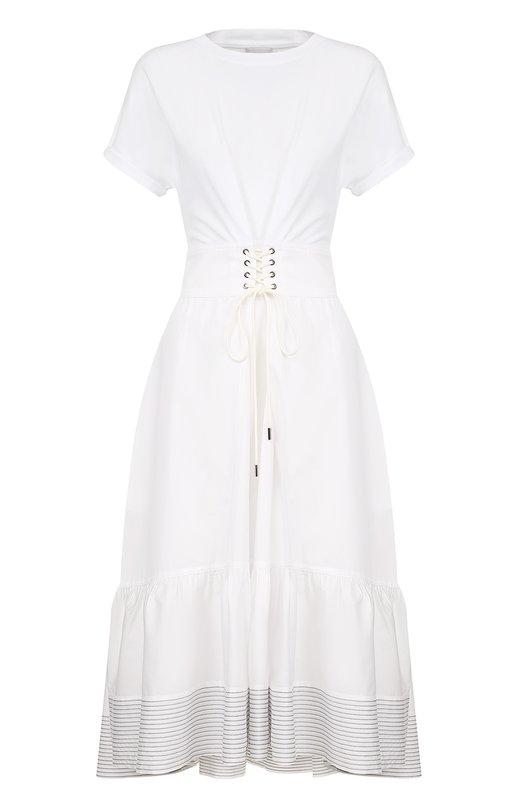 Купить Хлопковое приталенное платье-миди 3.1 Phillip Lim, P171-9718HCJ, Китай, Белый, Хлопок: 100%;