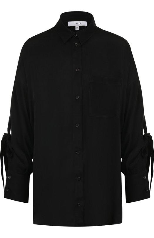 Купить Блуза свободного кроя с бантами на рукавах Iro, WP18C0BI, Португалия, Черный, Вискоза: 87%; Шерсть: 13%;