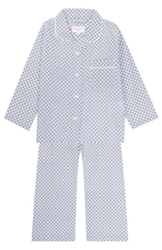 Купить Хлопковая пижама с принтом Derek Rose, 7006-LEDB003/3-12, Чехия, Белый, Хлопок: 100%;