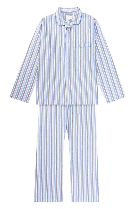 Купить Хлопковая пижама в полоску Derek Rose, 7005-ARCT015/13-16, Чехия, Голубой, Хлопок: 100%;