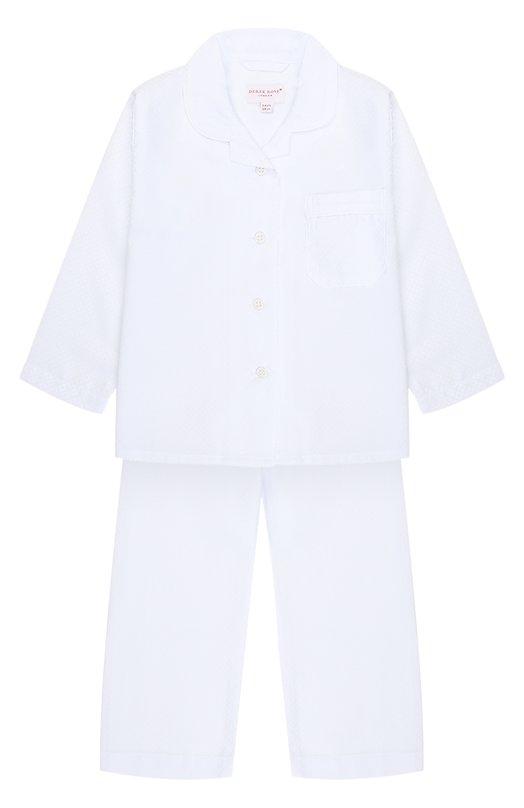 Купить Хлопковая пижама Derek Rose, 7006-KATE002/3-12, Чехия, Белый, Хлопок: 100%;