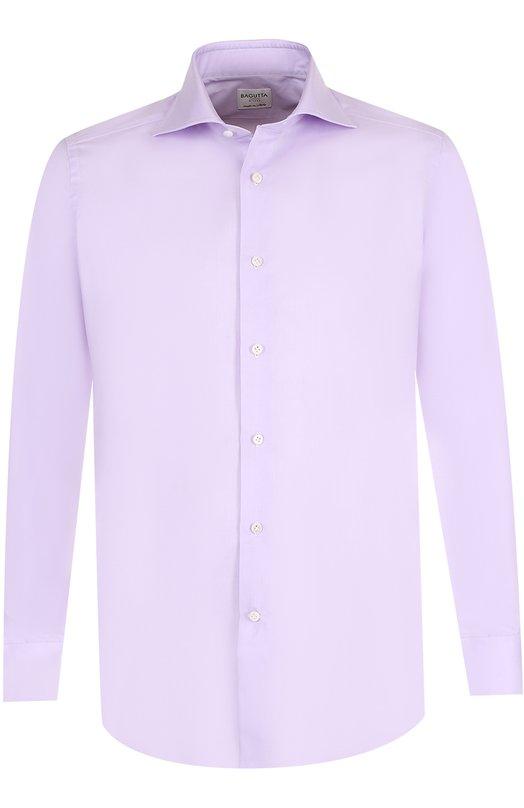 Купить Хлопковая сорочка с воротником акула Bagutta, B341D/06955, Италия, Сиреневый, Хлопок: 100%;