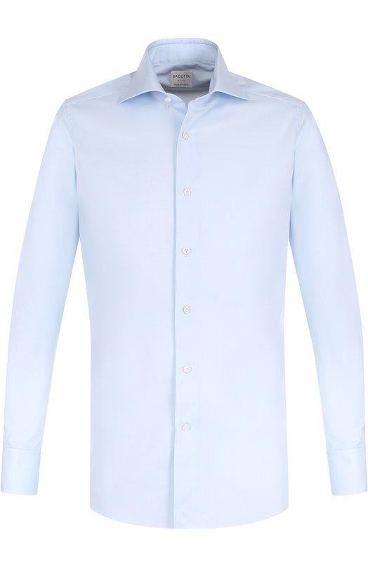 Купить Хлопковая сорочка с воротником акула Bagutta, B341D/06955, Италия, Светло-голубой, Хлопок: 100%;