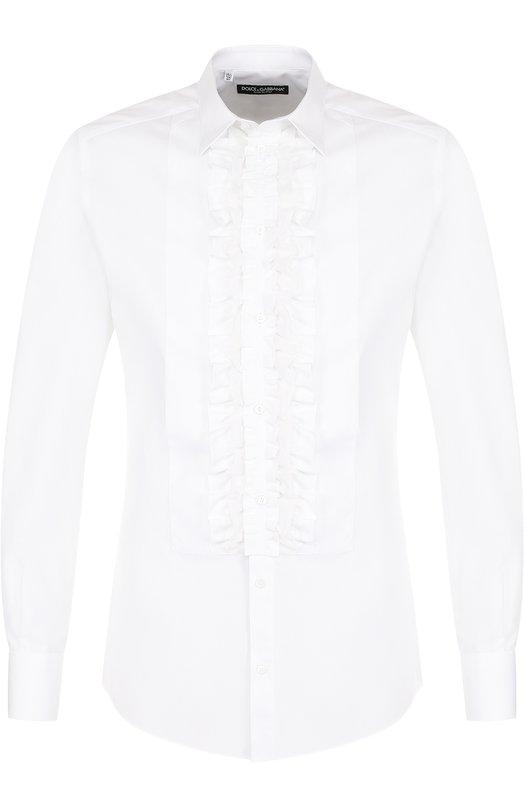 Сорочка из смеси хлопка и шелка с рюшами Dolce & Gabbana