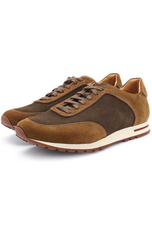 Купить Замшевые кроссовки Week End Walk на шнуровке Loro Piana, FAG4290, Италия, Коричневый, Стелька-Кожа: 100%; Подошва-Резина: 100%; Замша натуральная: 100%; Подкладка-Кожа: 100%; Кожа: 100%;