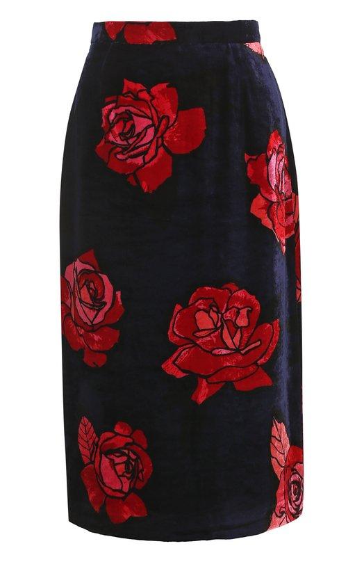 Купить Бархатная юбка-миди с цветочным принтом Markus Lupfer, SK319, Китай, Темно-синий, Вискоза: 82%; Шелк: 18%; Подкладка-вискоза: 100%; Отделка-полиэстер: 100%;