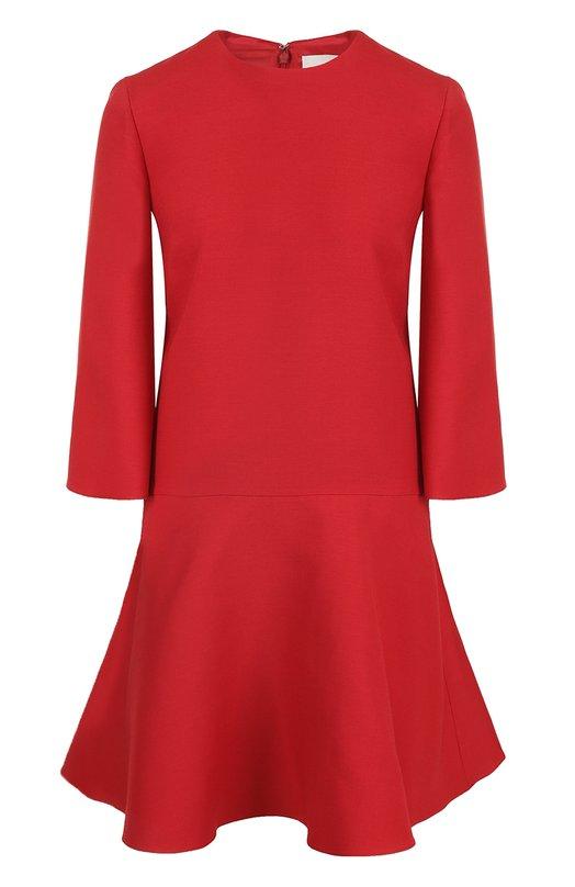 Купить Приталенное мини-платье с расклешенными рукавами Valentino, NB0VAAY5/1CF, Италия, Красный, Шерсть: 65%; Шелк: 35%; Подкладка-шелк: 100%;