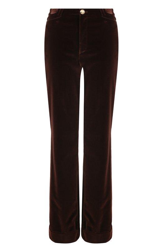 Расклешенные бархатные брюки с отворотами Lanvin