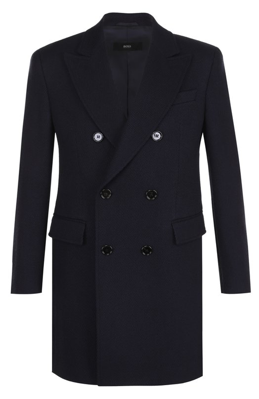 Купить Шерстяное двубортное пальто BOSS, 50376051, Польша, Темно-синий, Шерсть: 100%;