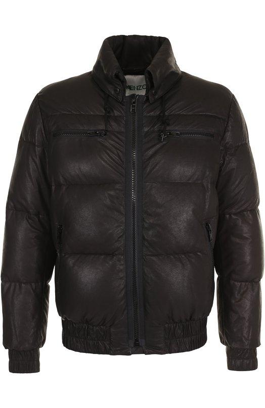 Кожаная стеганая куртка на молнии Kenzo
