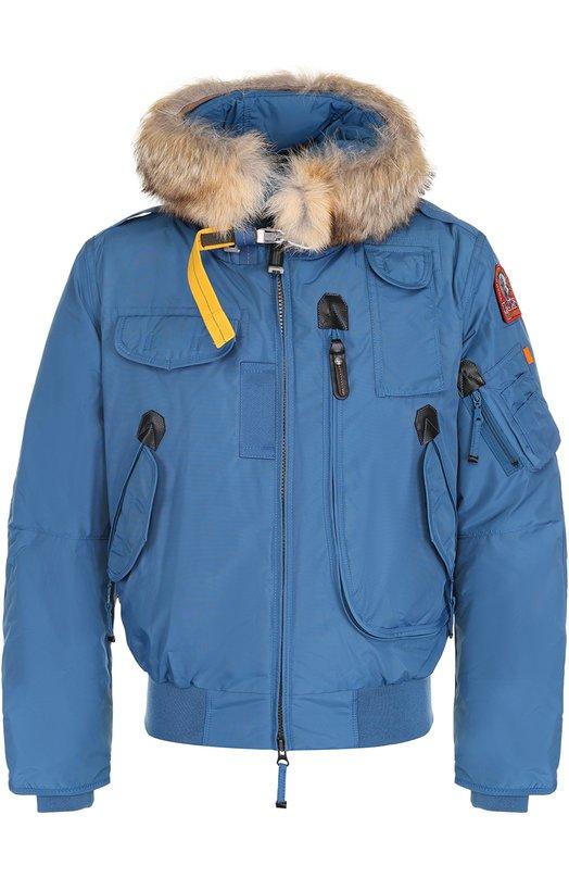 Купить Укороченная куртка Gobi с меховой отделкой капюшона Parajumpers, MA01/G0BI-MAN, Китай, Голубой, Пух: 90%; Полиамид: 100%; Подкладка-полиэстер: 100%; Отделка мех нат.: 100%; Перо: 10%;