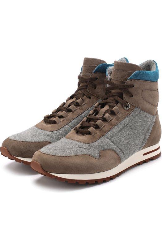 Купить Высокие замшевые кроссовки с отделкой из кашемира Loro Piana, FAG3630, Италия, Серый, Замша натуральная: 60%; Текстиль: 40%; Стелька-кожа: 100%; Подошва-резина: 100%;
