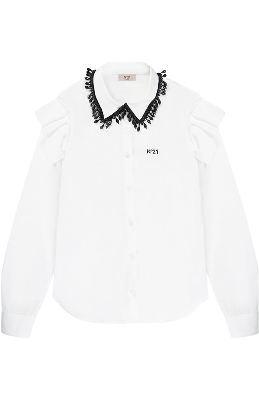 Хлопковая блуза с декоративным воротником No. 21
