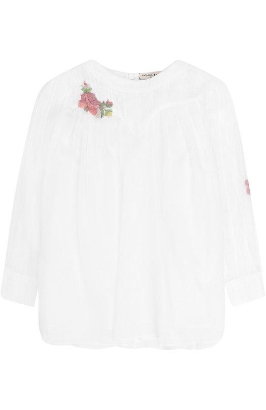 Купить Хлопковое платье свободного кроя с вышивкой бисером Natasha Zinko, PF8921/3-8, Польша, Белый, Хлопок: 100%;