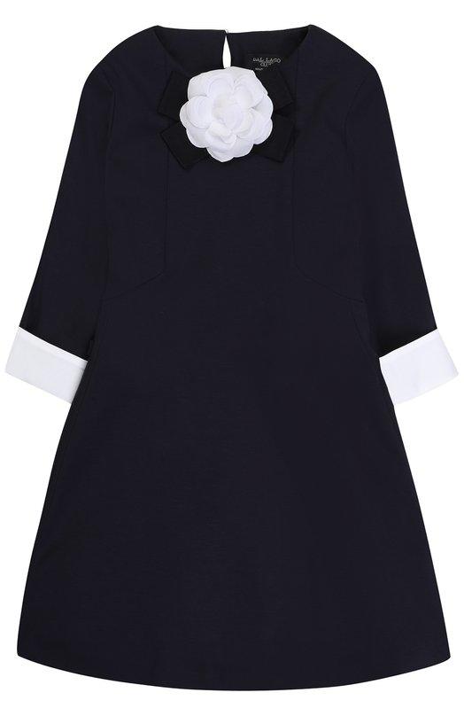 Купить Приталенное платье джерси с контрастной отделкой и брошью Dal Lago, R381/8111/7-12, Италия, Темно-синий, Вискоза: 65%; Эластан: 5%; Полиамид: 30%; Подкладка-хлопок: 100%;