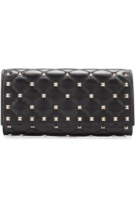 Купить Кожаный кошелек Rockstud Spike с металлическими заклепками Valentino Италия 5196498 NW2P0P01/NAP