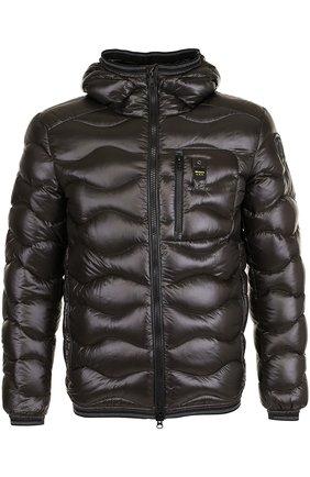 Пуховая стеганая куртка с капюшоном Blauer темно-зеленая | Фото №1