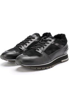 Комбинированные кроссовки с внутренней отделкой из овчины Santoni черные | Фото №1