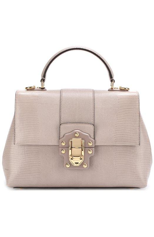 Купить Сумка Lucia из тисненой кожи Dolce & Gabbana, 0116/BB6322/A1095, Италия, Серый, Кожа натуральная: 100%;