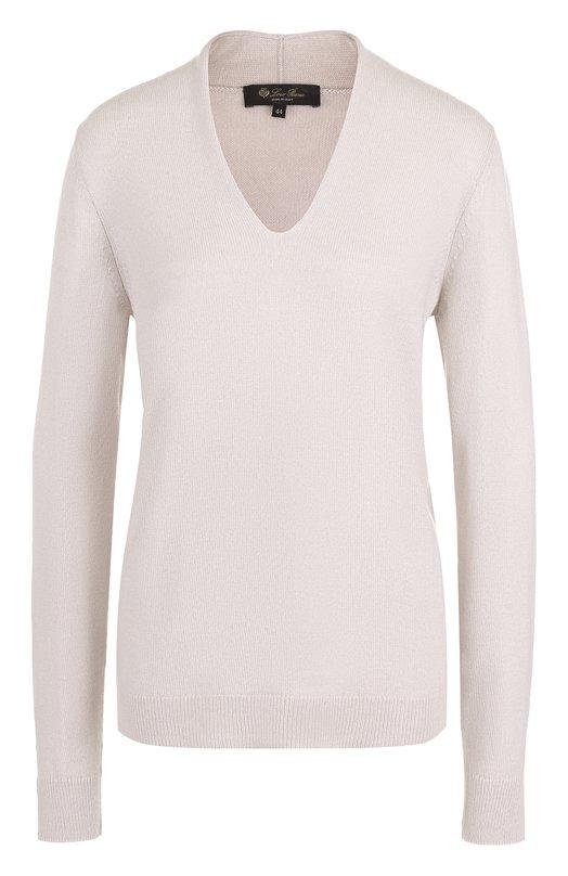 Купить Кашемировый пуловер с V-образным вырезом Loro Piana, FAF8157, Италия, Светло-серый, Кашемир: 100%;