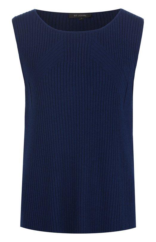 Купить Кашемировый топ фактурной вязки без рукавов St. John, K90N011, Китай, Темно-синий, Кашемир: 100%;